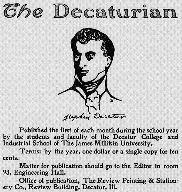 The Decaturian November 1903 page 8 Masthead