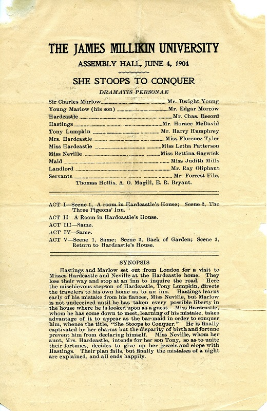 1904 play program for She Stoops to Conquer