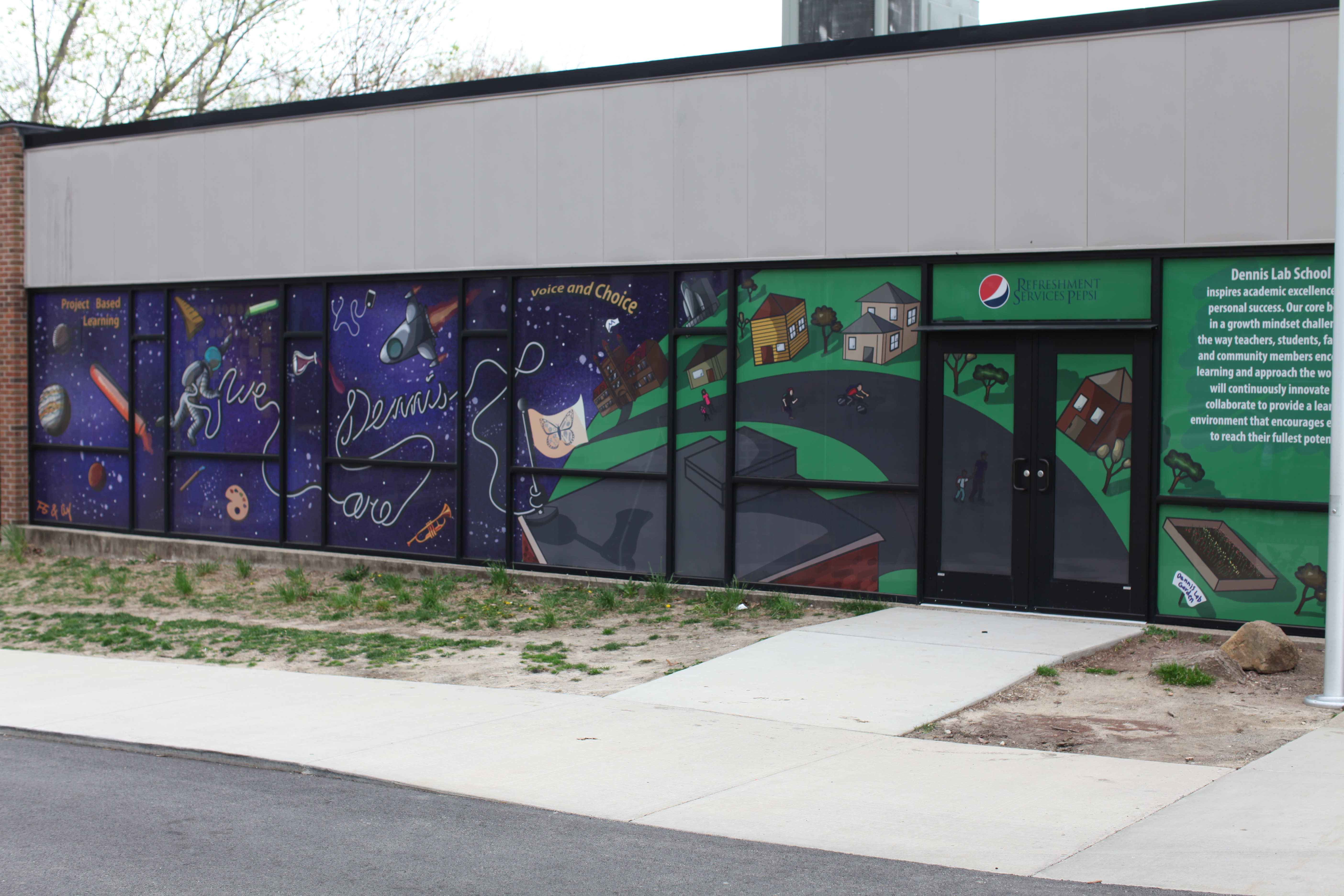 Dennis Lab School Library Window Mural Graphic