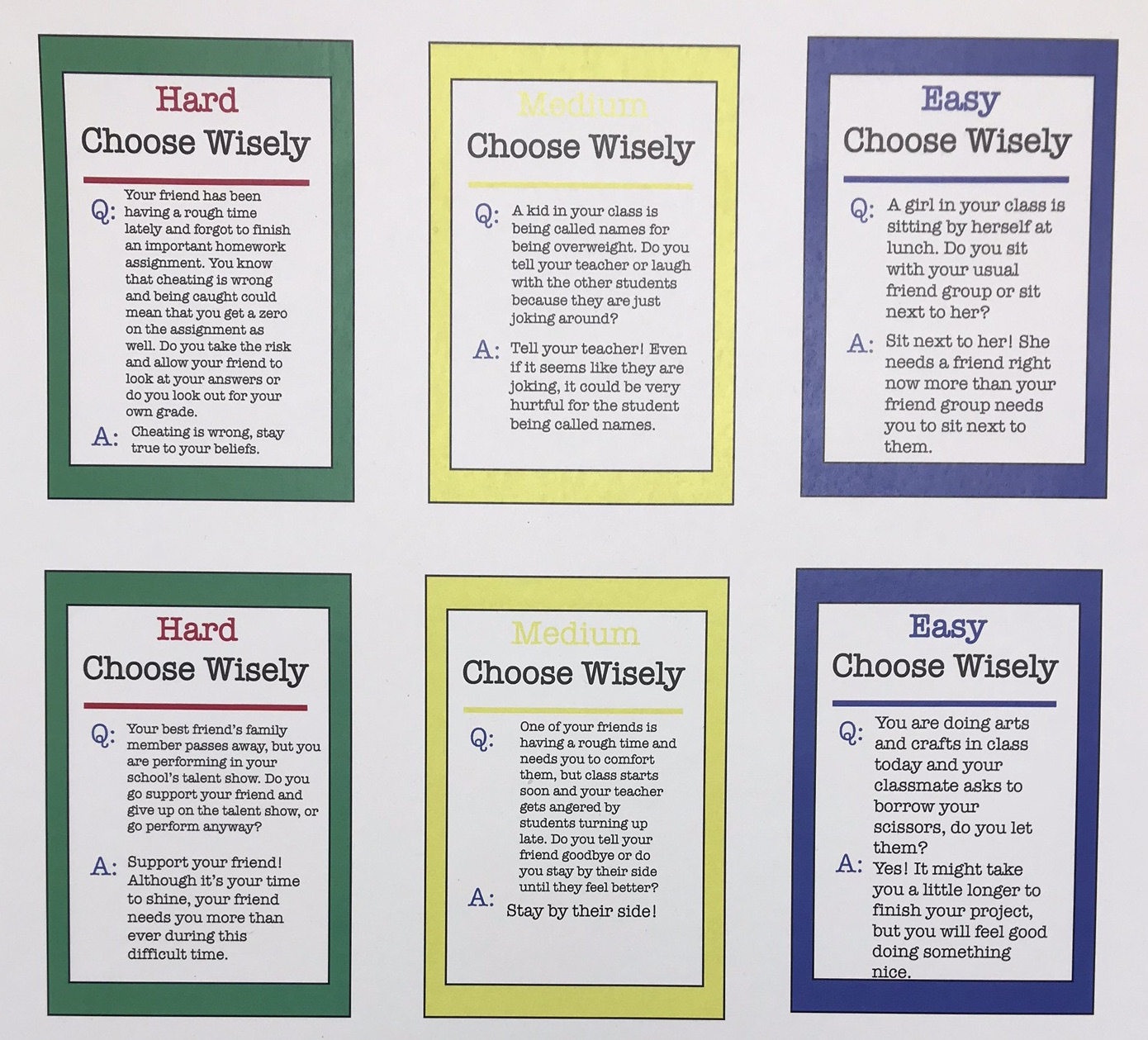 Empathy Board Game Cards