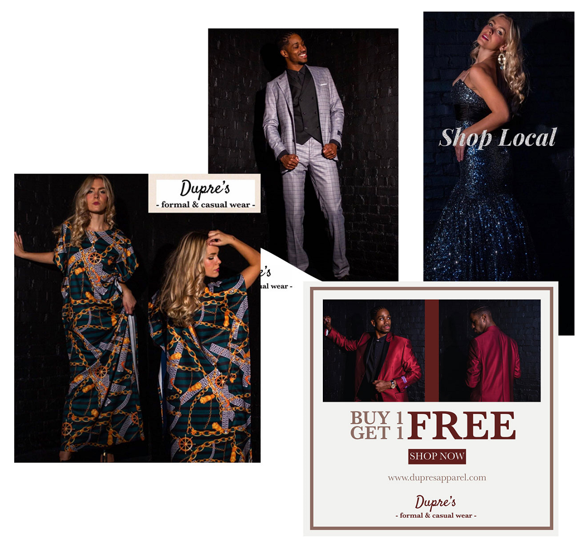 """Original Photography and Design for class client """"Dupre Formal and Casual Wear"""""""