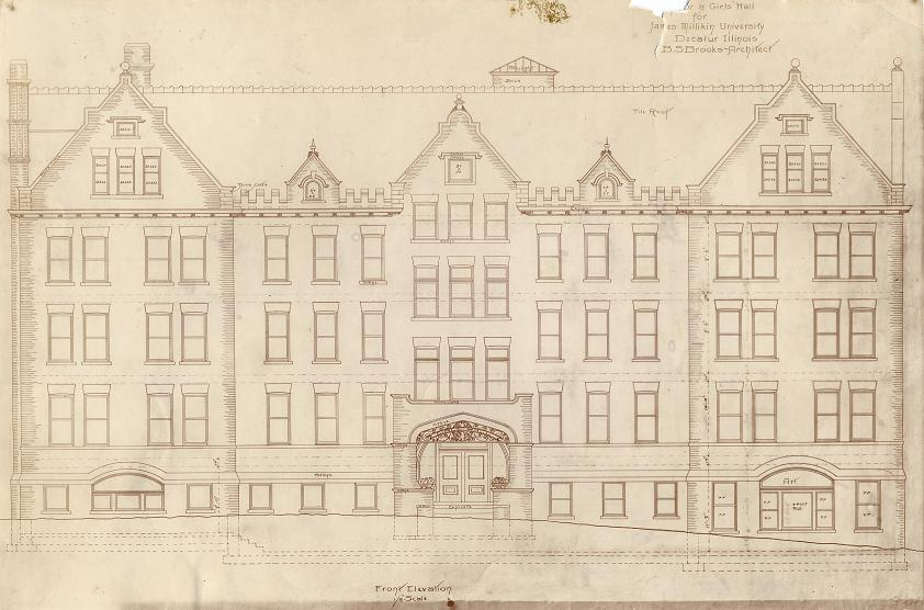 Original drawing of proposed Woman's Dorm for Millikin by Decatur architect, B.S. Brooks