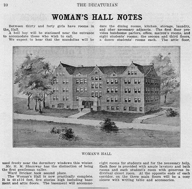 Women's Hall in the Decaturian September 1907 page 10