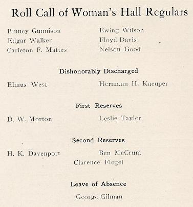 Roll Call of Woman's Hall Regulars