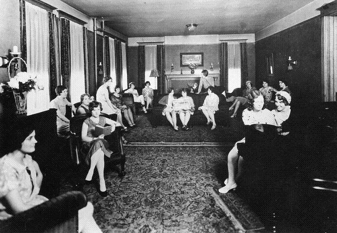 Aston Hall parlor in 1930s