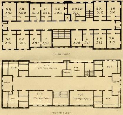 Aston Hall Third and Fourth Floor original floor plan
