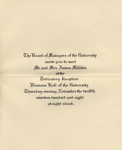 1908 Aston Hall dedication program