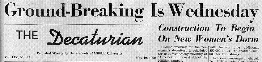 20 May, 1960 Decaturian announcement of the new women's dorm