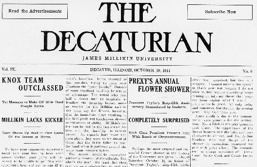"1911 Decaturian front page records one such annual ""flower shower"""