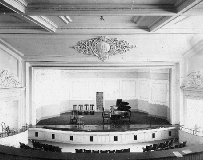 Early photo of theatre stage