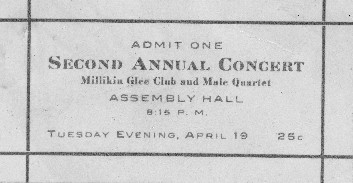 1910 Glee Club concert ticket
