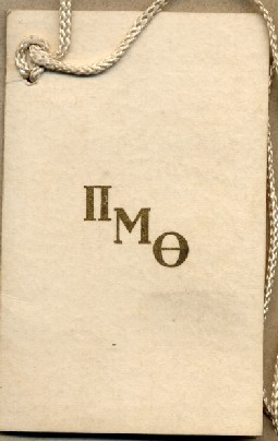 1921 Pi Mu Theta dance card