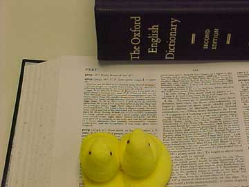 photo of Peeps using the Oxford English Dictionary