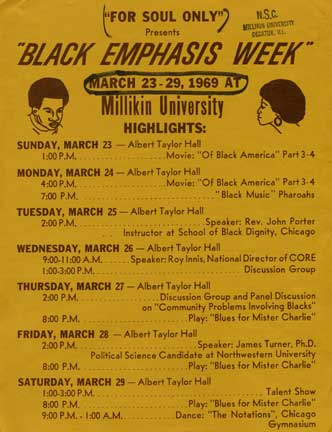 1969 event program for Black Emphasis Week