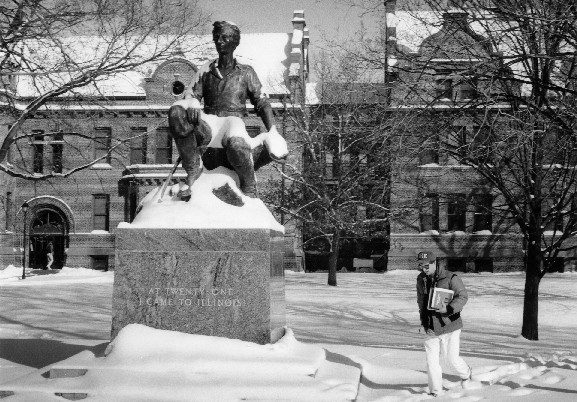 Winter Image of front of statue