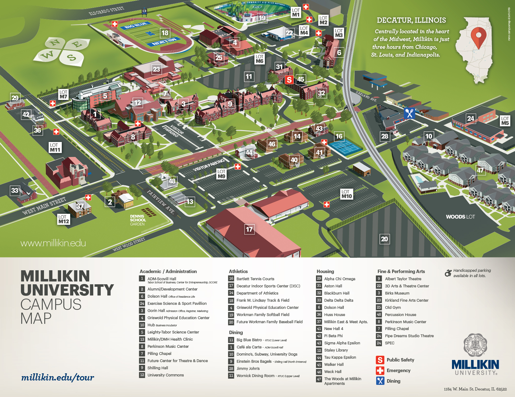 University Campus Map Campus Maps | Millikin University