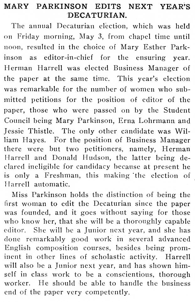 Decaturian May 1918 page 9 editorial