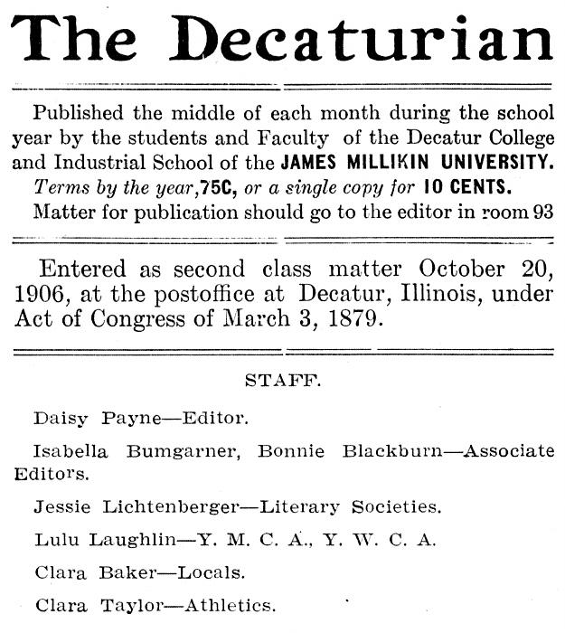 Decaturian June 1907 page 8 masthead