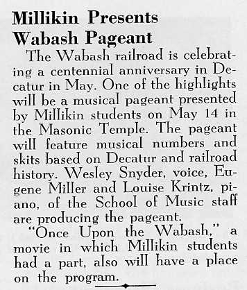 Article from Millikin's Alumni Bulletin May 1954 (p2)