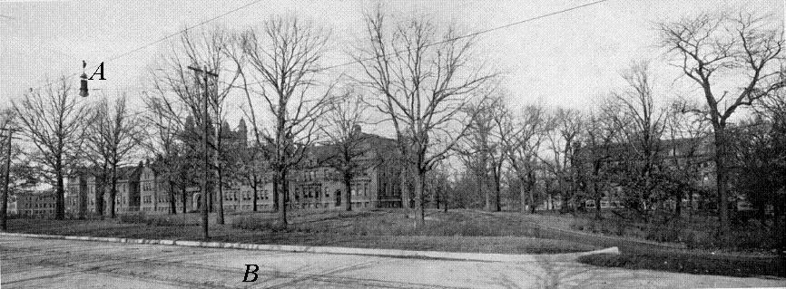 Millidek image of front campus showing rails and cables on West Main St.