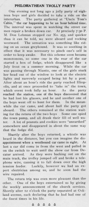 Article from October 1904 Decaturian