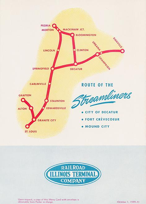 Back Cover of Illinois Terminal Streamliner menu