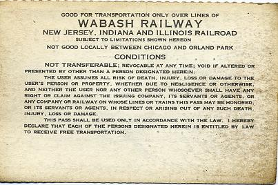 1938 Wabash employee's family pass (back)