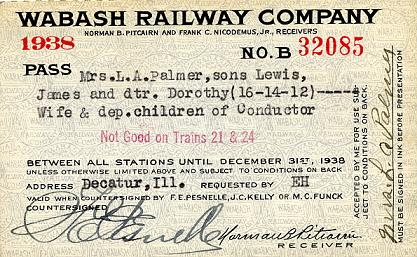 1938 Wabash Employee's family pass (front)