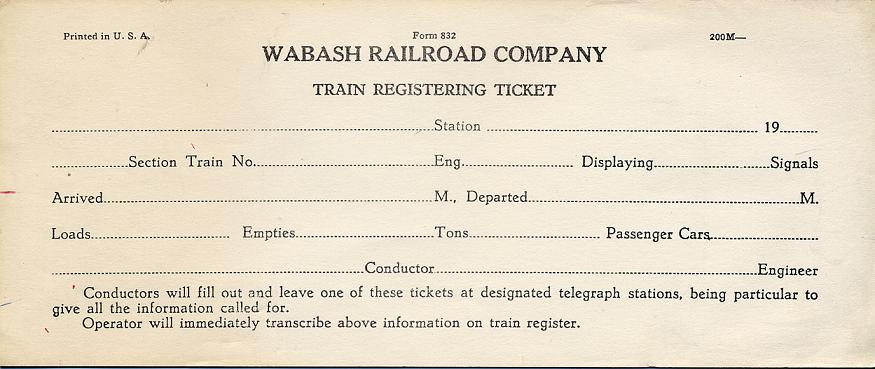 Blank train registering ticket