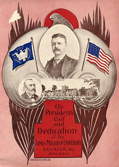 Image of front cover of program for Dedication of the James Millikin University