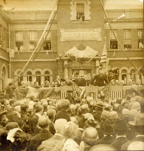 Image of President Roosevelt giving speech at Wabash Station in Decatur