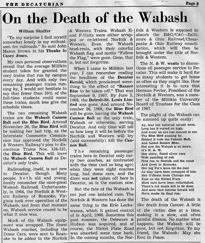 "Article ""On the Death of the Wabash"""