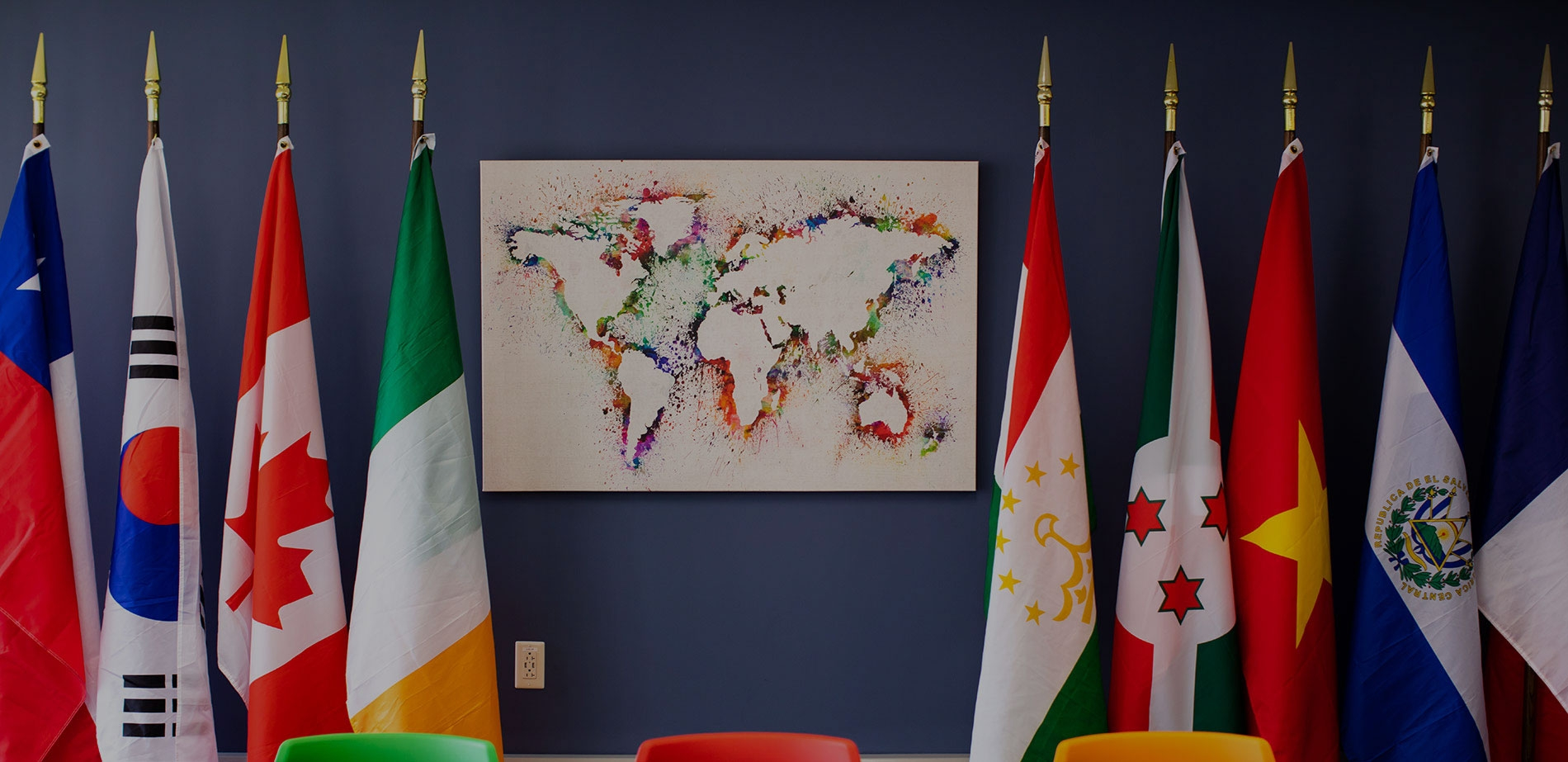 Center for International Education Map and Flags