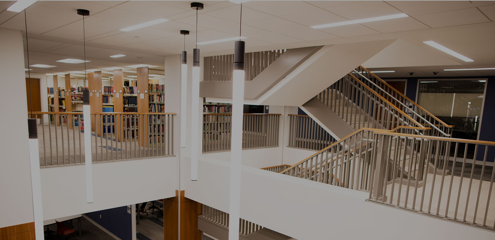 library stack and staircase