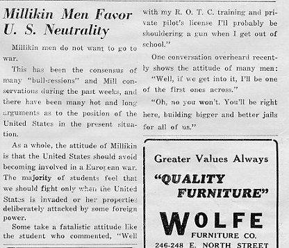 Millikin Men Favor U. S. Neutrality, September 1939 Decaturian