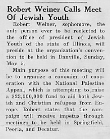 Robert Weiner calls meet of Jewish youth, April 1940 Decaturian
