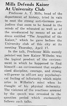 Mills defends Kaiser at University Club, April 1940 Decaturian