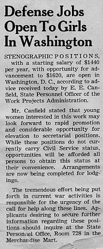Defense jobs open to girls in Washington, February 1942 Decaturian