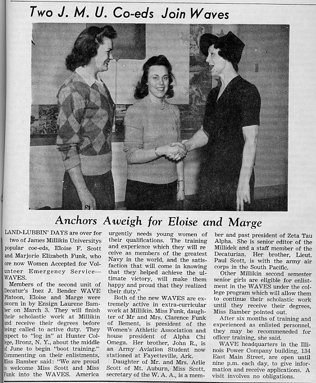 Two J.M.U. co-eds join waves, March 1944 Decaturian