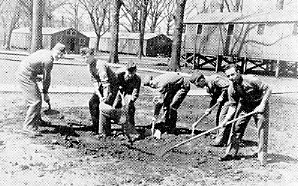 Millidek photo of cadets digging in