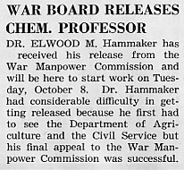 War board releases chem. professor, September 1943 Decaturian